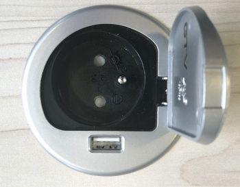 Schreibtisch-Steckdose mit Schutzklappe, mittig