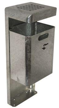 Außen Abfallbehälter TKG Mondo Wand Lochdach 35 Liter Silber