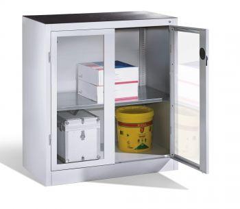 Werkzeug-Beistellschrank CP, Sichtfenster-Drehtüren, 1 Boden