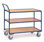 Tischwagen Fetra mit 3 Böden aus Holz, Griff hochstehend